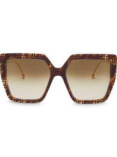 Fendi солнцезащитные очки в массивной оправе с логотипом FF