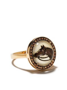 Francesca Villa кольцо из желтого золота с сапфирами и декором в виде лошади