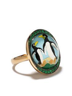 Francesca Villa кольцо из желтого золота с изумрудами и принтом