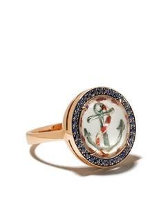 Francesca Villa кольцо из розового золота с сапфирами и принтом