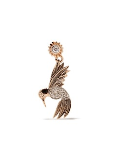 Kismet By Milka единичная серьга-подвеска Bird из розового золота с бриллиантами