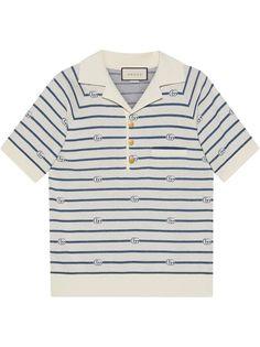 Gucci рубашка поло в полоску с логотипом Double G