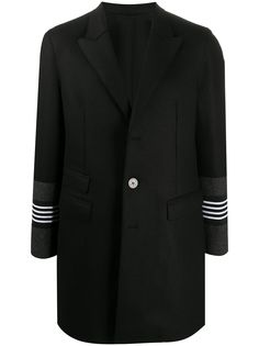 Neil Barrett однобортное пальто с полосатыми манжетами