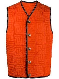 Versace стеганая куртка с узором Greca