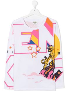 Kenzo Kids футболка с геометричным принтом