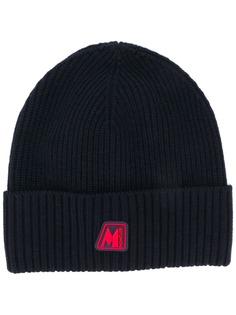 Moncler шапка бини в рубчик с нашивкой-логотипом