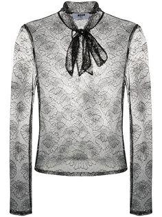 MSGM кружевная блузка с цветочным узором