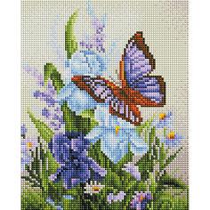 Алмазная мозаика Белоснежка «Бабочка на ирисах», 20х25 см