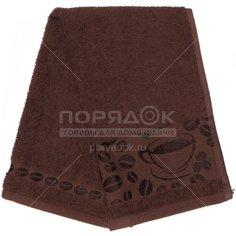 Полотенце кухонное махровое, 35х60 см, Вышневолоцкий текстиль Жаккардовый бордюр коричневое