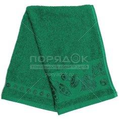Полотенце кухонное махровое, 35х60 см, Вышневолоцкий текстиль Жаккардовый бордюр фрукты-овощи темно-зеленое