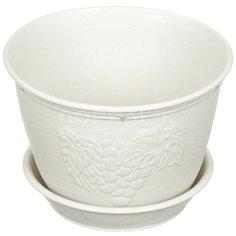 Горшок для цветов пластиковый Yamada 597W viola белая глина, 4.7 л
