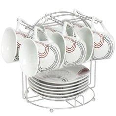 Сервиз чайный из керамики, 12 предметов, на подставке Фантазия SF13-F02 DNN, 180 мл