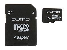Карта памяти 16Gb - Qumo MicroSDHC Сlass 6 QM16GMICSDHC6 с переходником под SD