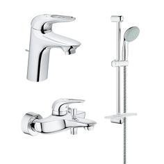 Промо-комплект GROHE Eurostyle New: смеситель для раковины, смеситель для ванны и душевой гарнитур, хром (124349)