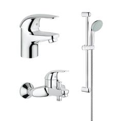 Промо-комплект GROHE Euroeco: смеситель для раковины, смеситель для ванны и душевой гарнитур, хром (124351)