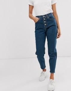Темно-синие джинсы в винтажном стиле с ширинкой на пуговицах Levis-Синий