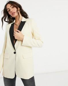 Пиджак кремового цвета ASOS DESIGN-Желтый
