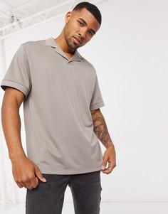 Бежевая сетчатая футболка-поло свободного кроя ASOS DESIGN-Бежевый