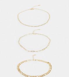 3 золотистых ножных браслета из разных цепочек ASOS DESIGN Curve-Золотой