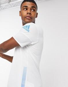 Белая/синяя футболка adidas 25/7 Rise Up N Run Parley-Белый
