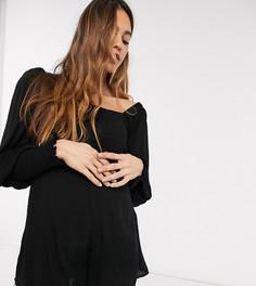Черный ромпер с присборенным лифом и рукавами ASOS DESIGN Maternity-Мульти