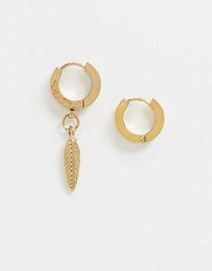 Позолоченные серьги-кольца из нержавеющей стали с подвеской-пером River Island-Золотой
