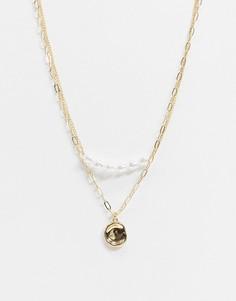Многорядное ожерелье с искусственным жемчугом и подвеской DesignB London-Золотой