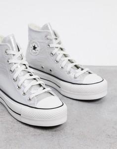 Серебристые высокие кроссовки на платформе Converse Chuck Taylor Lift-Серый