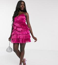 Плиссированное платье для выпускного мини цвета фуксии с глубоким вырезом эксклюзивно от Dolly & Delicious-Розовый