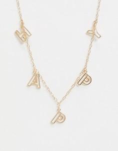 Ожерелье с подвесками-буквами ASOS DESIGN-Золотой