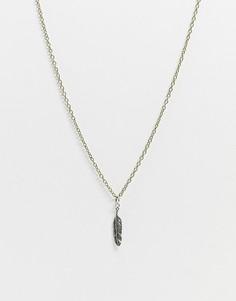 Золотистое ожерелье с серебристой подвеской-перомIcon Brand-Мульти
