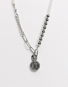 Серебристоеожерелье сискусственным жемчугомASOS DESIGN-Серебряный