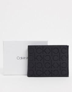 Черный бумажник с отделением для монет и логотипом Calvin Klein