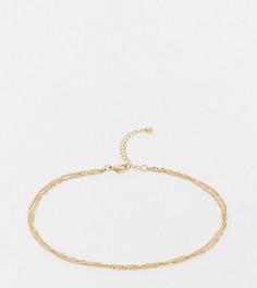 Золотистыйбраслет на ногуиз тонких цепочек ASOS DESIGN Curve-Золотой