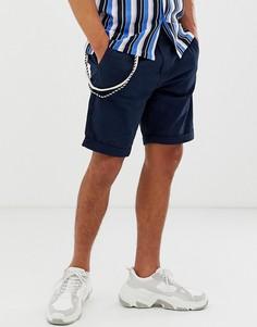 Темно-синие зауженные шорты карго Bershka-Темно-синий