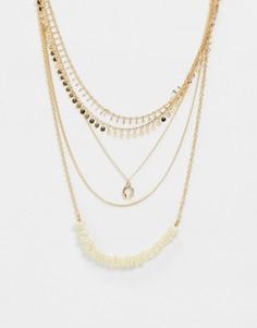 Золотистое ярусное ожерелье с искусственным жемчугом ASOS DESIGN-Золотой