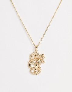 Золотистое ожерелье с подвеской-драконом Missguided-Золотой