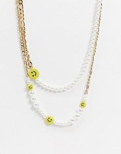 Золотистое ярусное ожерелье с искусственным жемчугом и смайликами ASOS DESIGN-Золотой