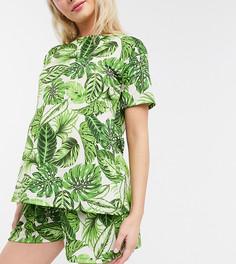 Зеленая пижамная футболка с пальмовым принтом ASOS DESIGN Maternity mix & match-Мульти