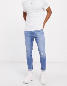 Синие супероблегающие джинсы с потертостями Bershka-Синий