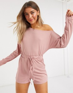 Розовый ромпер в рубчик с открытыми плечами и завязкой In The Style x Jac Jossa