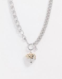 Серебристо-золотистоекороткое массивное ожерельес сердцем ASOS DESIGN-Мульти
