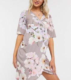 Облегающее платье миди с цветочным принтом Blume Maternity-Розовый