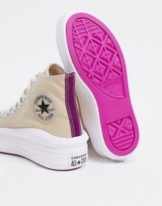 Бежевые высокие кроссовки Converse Chuck Taylor Move-Бежевый
