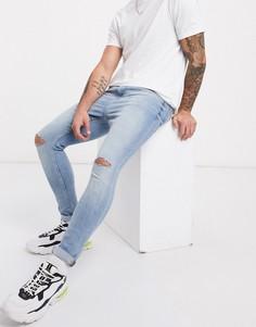 Супероблегающие джинсы с дырками на коленях Bershka-Синий