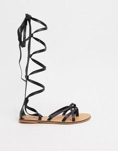 Черные кожаныевысокие сандалии-гладиаторы ASOS DESIGN-Черный