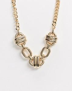 Золотистое ожерелье с овальными звеньями ASOS DESIGN-Золотой