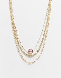 Золотистое многорядное ожерелье с подвеской ASOS DESIGN-Золотой