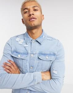 Синяя облегающая джинсовая куртка с рваной отделкой ASOS DESIGN-Синий
