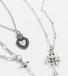 Многорядное ожерелье с сердцем Reclaimed Vintage inspired-Серебряный
